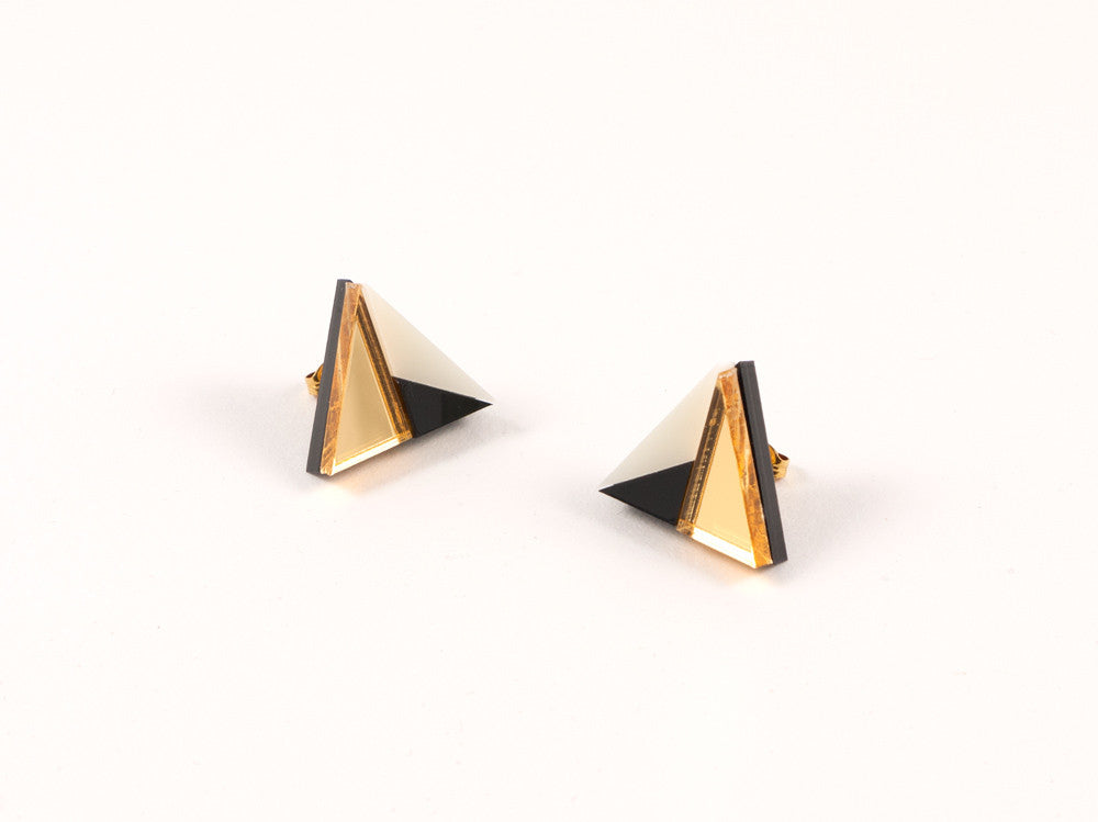 FORM011 Earrings - Gold, Black, Ivory