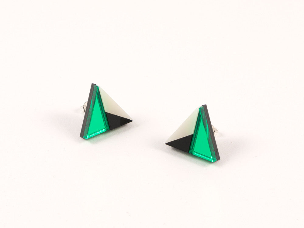 FORM011 Earrings - Green, Black, Ivory