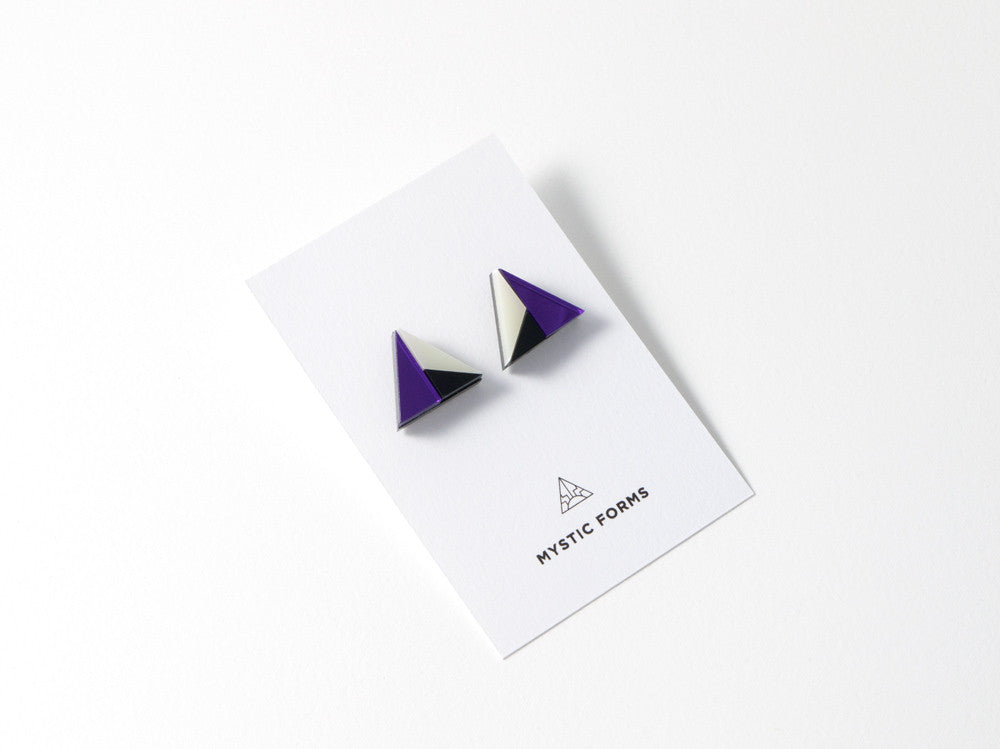 FORM011 Earrings - Purple, Black, Ivory