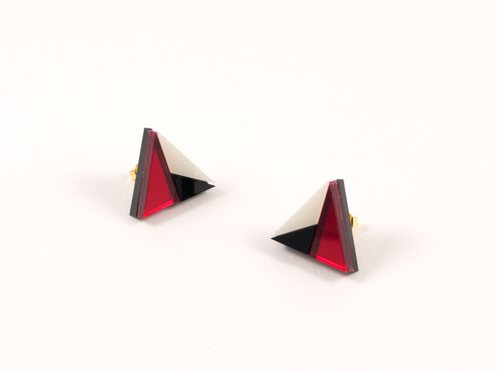 FORM011 Earrings - Red, Black, Ivory