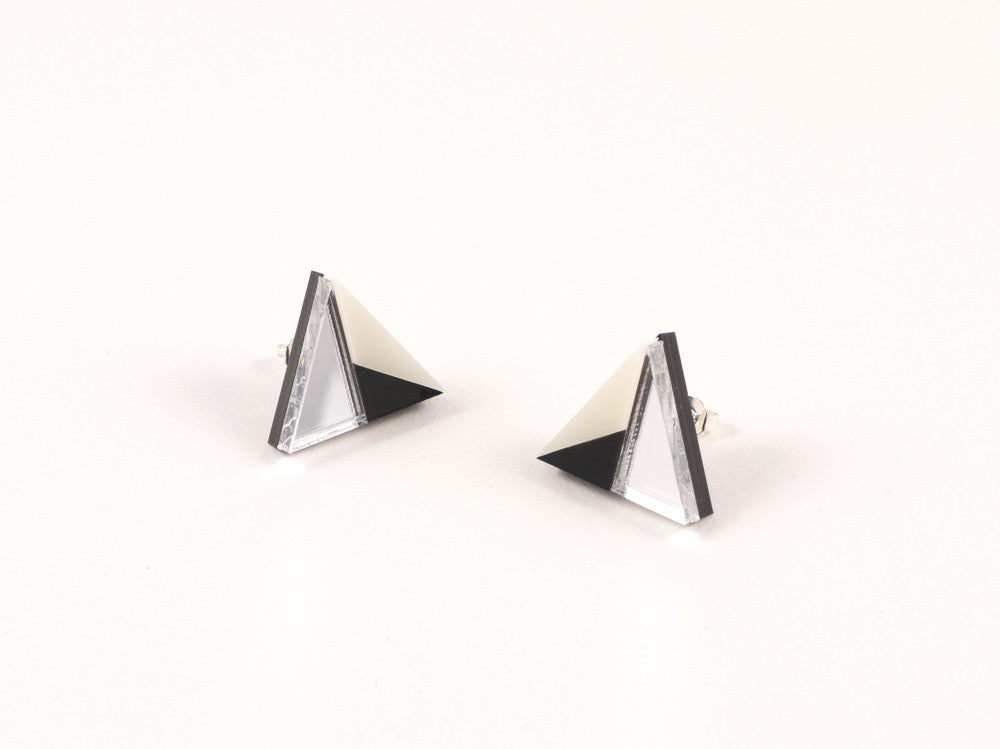 FORM011 Earrings - Silver, Black, Ivory