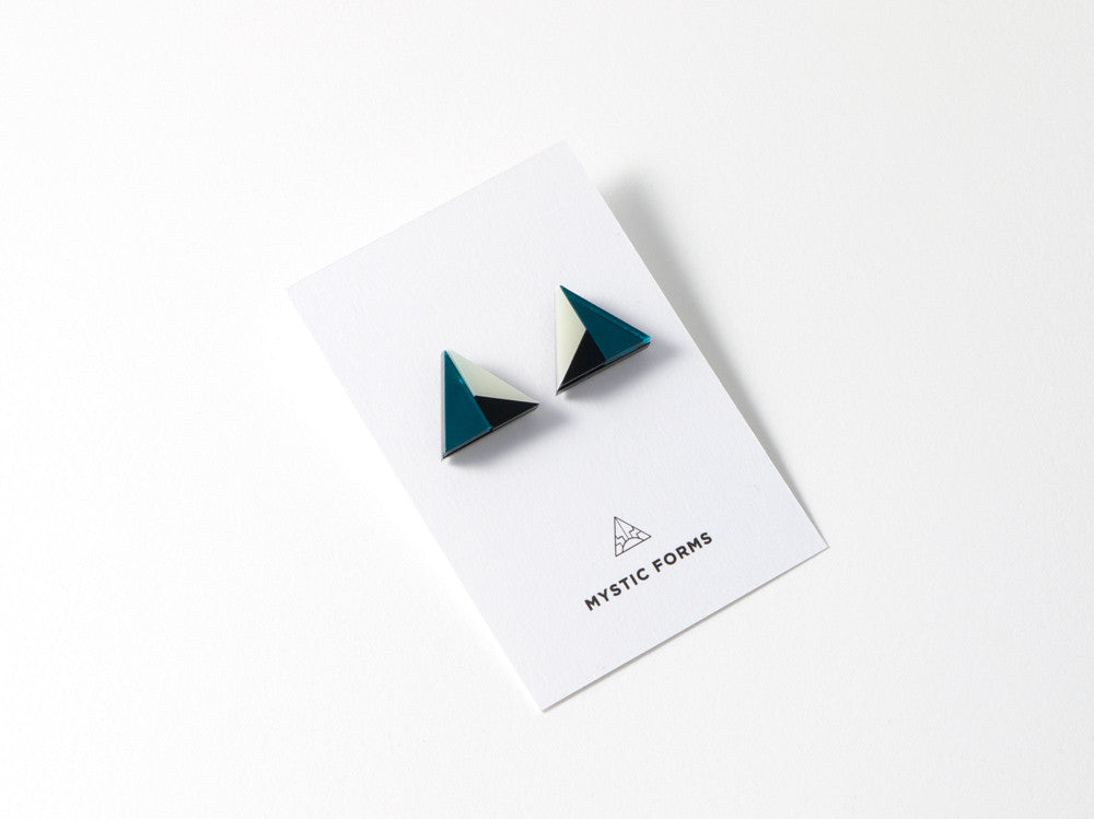 FORM011 Earrings - Teal, Black, Ivory