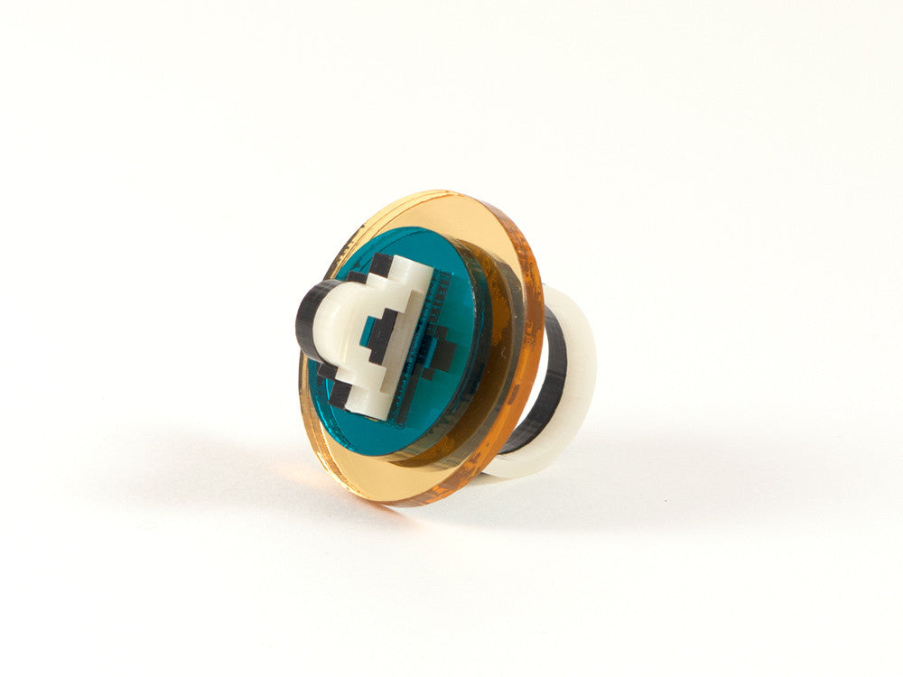 FORM012 Ring - Gold and Teal