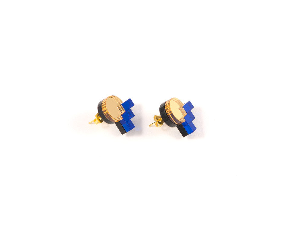FORM013 Earrings - Gold, Blue