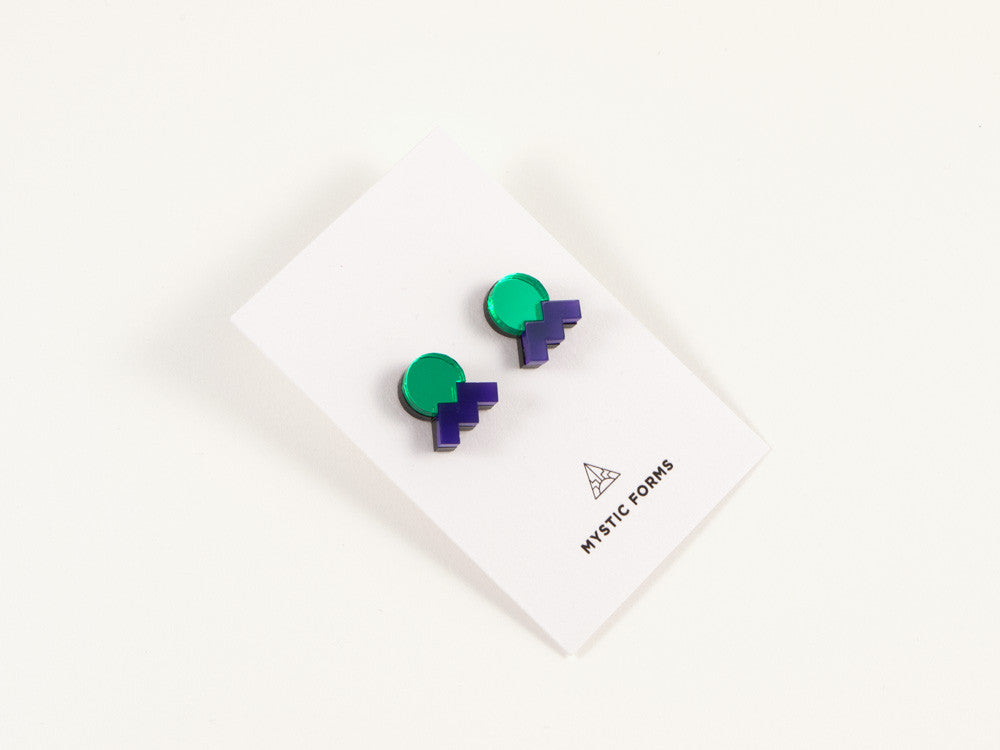 FORM013 Earrings - Green, Purple