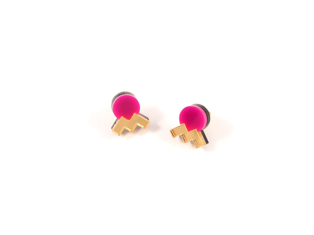 FORM013 Earrings - Pink, Gold