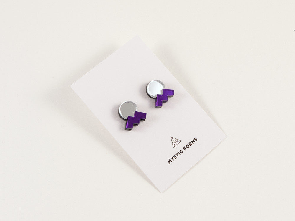 FORM013 Earrings - Silver, Purple