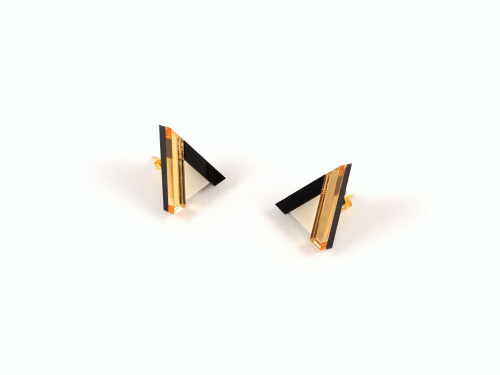 FORM014 Earrings - Gold, Black, Ivory