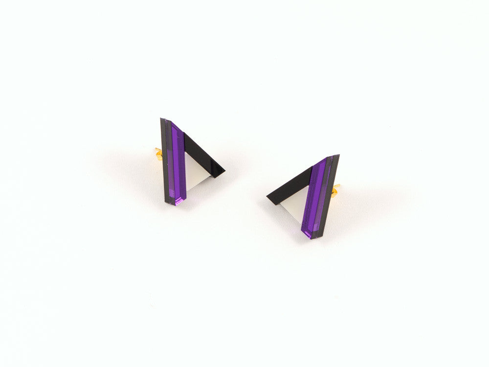 FORM014 Earrings - Purple, Black, Ivory