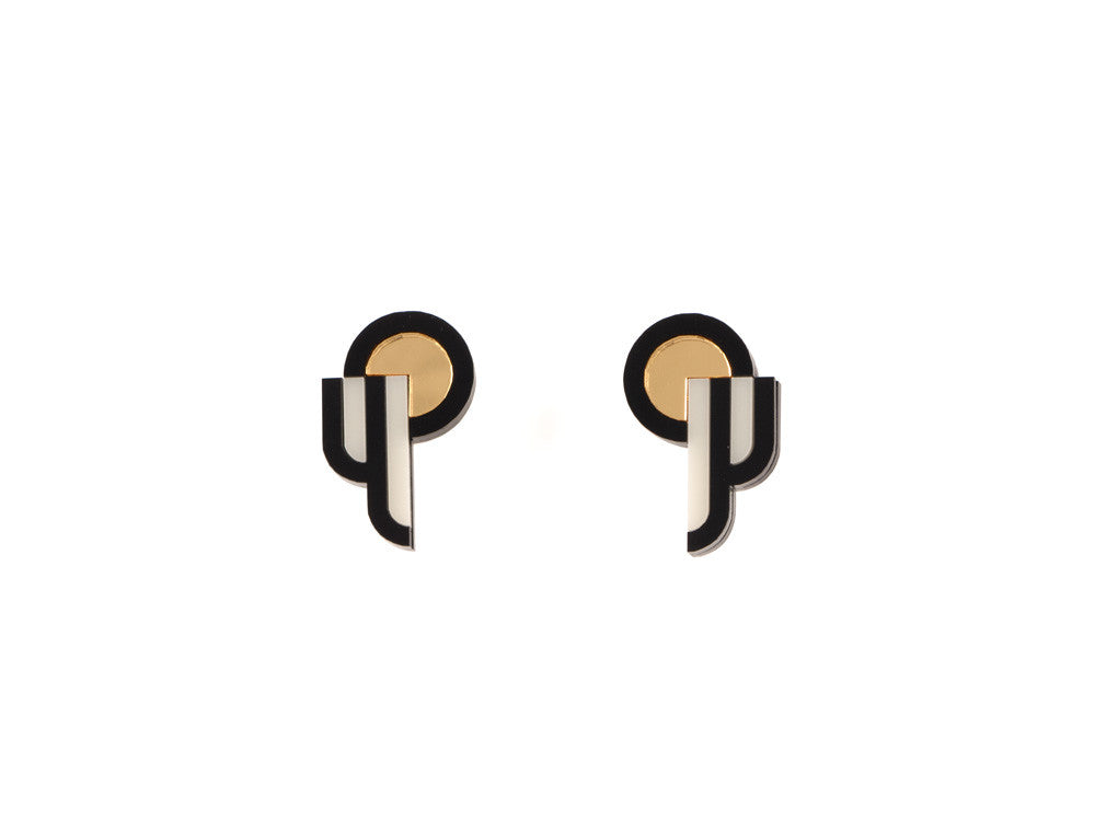 FORM015 Earrings - Gold, Black, Ivory