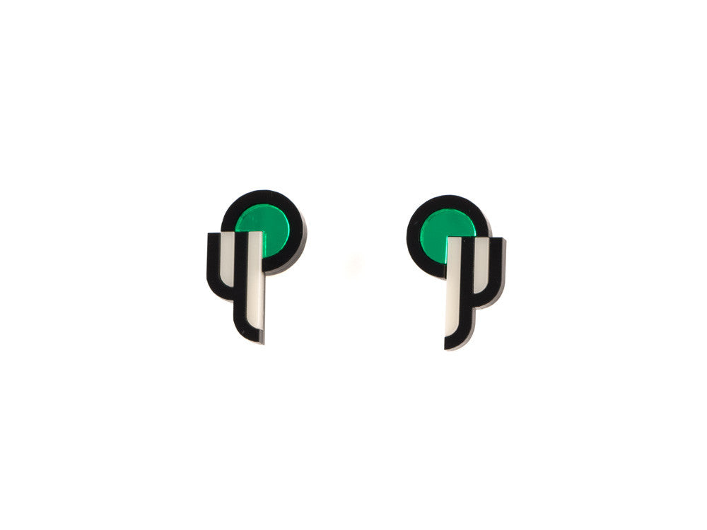 FORM015 Earrings - Green, Black, Ivory
