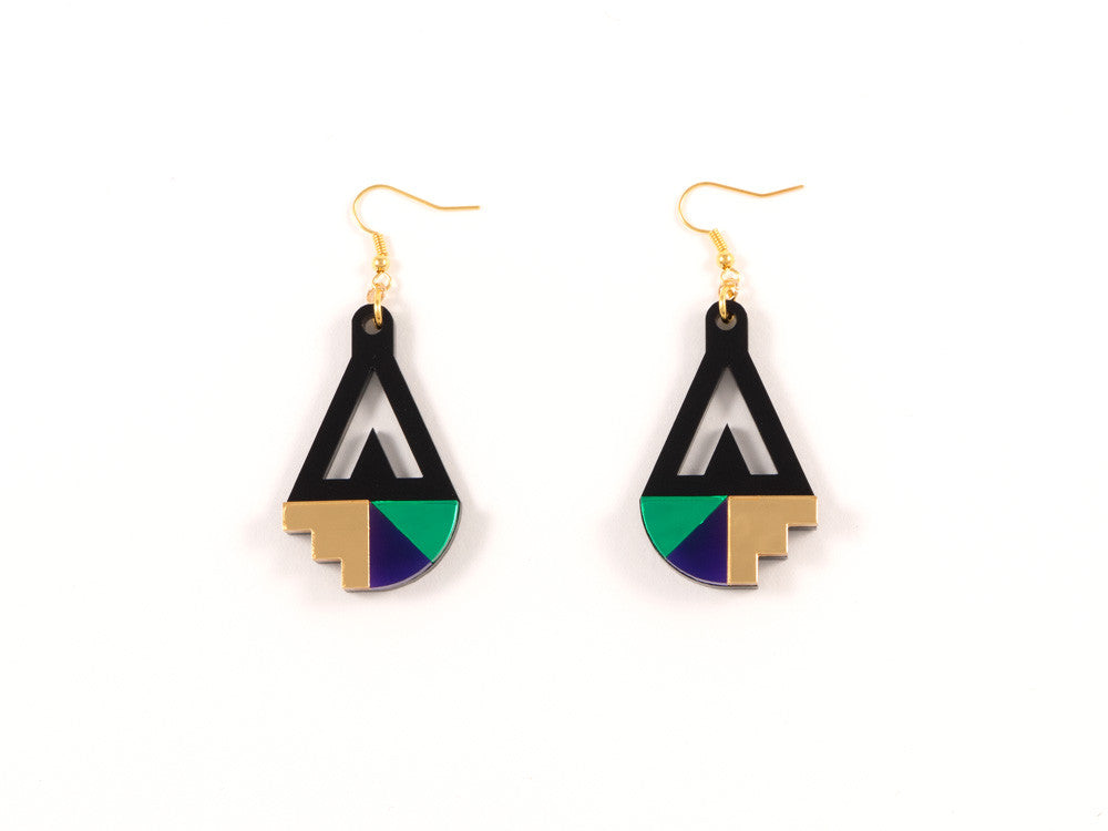 FORM016 Earrings - Gold, Purple, Green