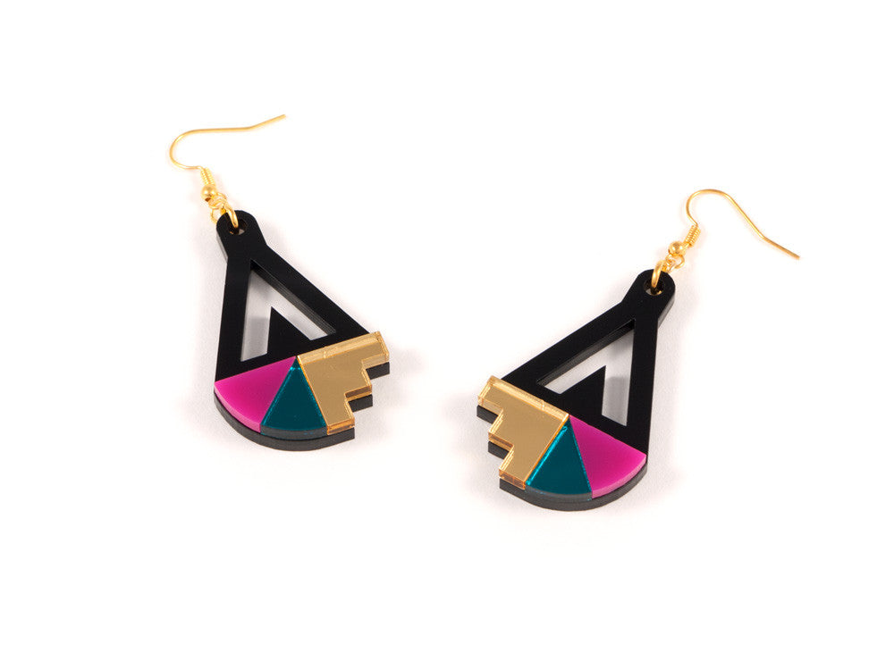 FORM016 Earrings - Gold, Teal, Pink