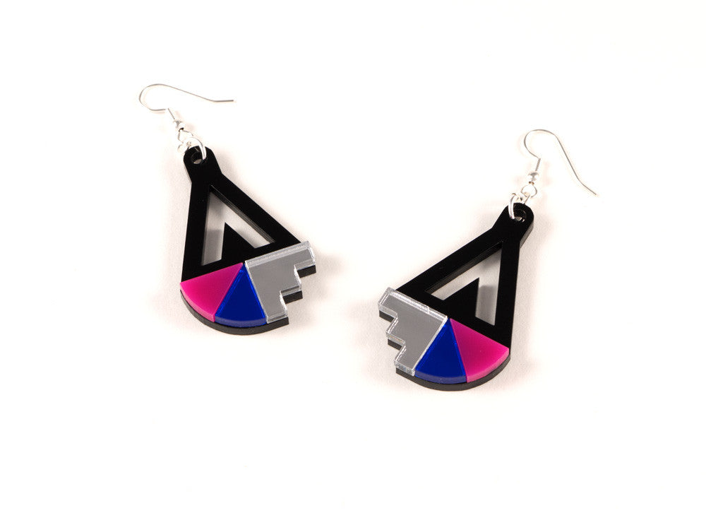 FORM016 Earrings - Silver, Blue, Pink