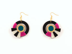 FORM017 Earrings - Gold, Teal, Pink