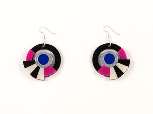 FORM017 Earrings - Silver, Blue, Pink