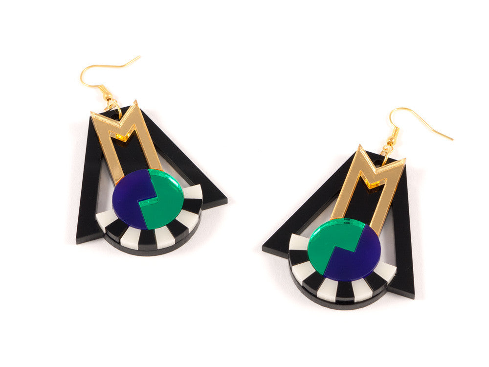 FORM018 Earrings - Gold, Purple, Green