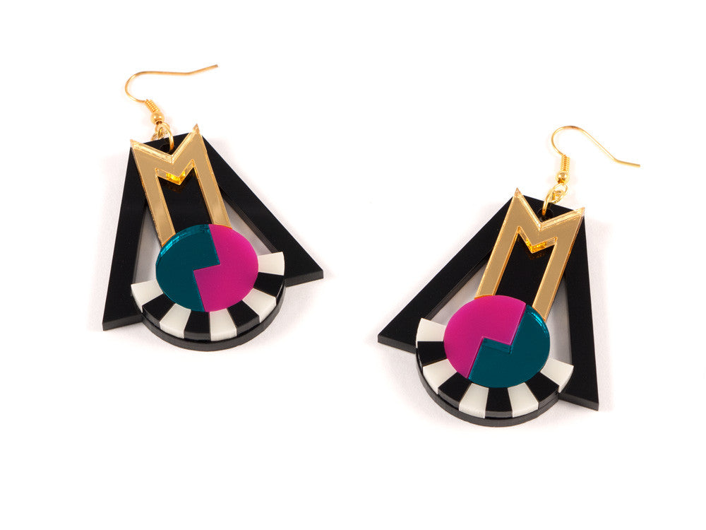 FORM018 Earrings - Gold, Teal, Pink