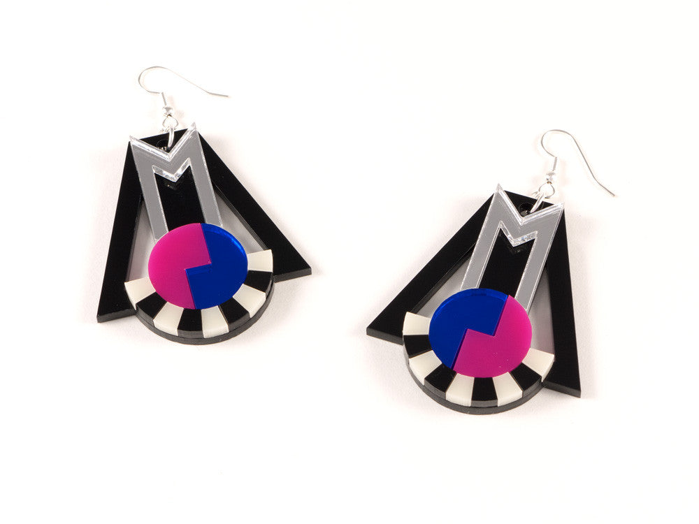 FORM018 Earrings - Silver, Blue, Pink
