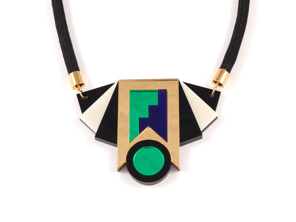 FORM019 Necklace - Gold, Purple, Green