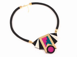 FORM019 Necklace - Gold, Teal, Pink
