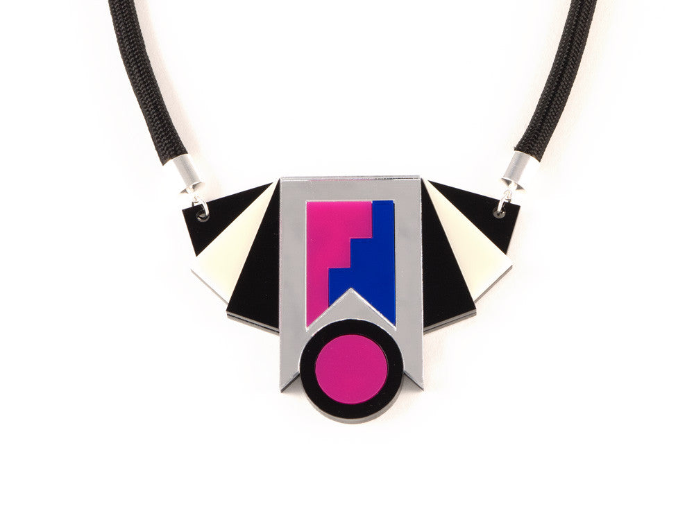 FORM019 Necklace - Silver, Blue, Pink