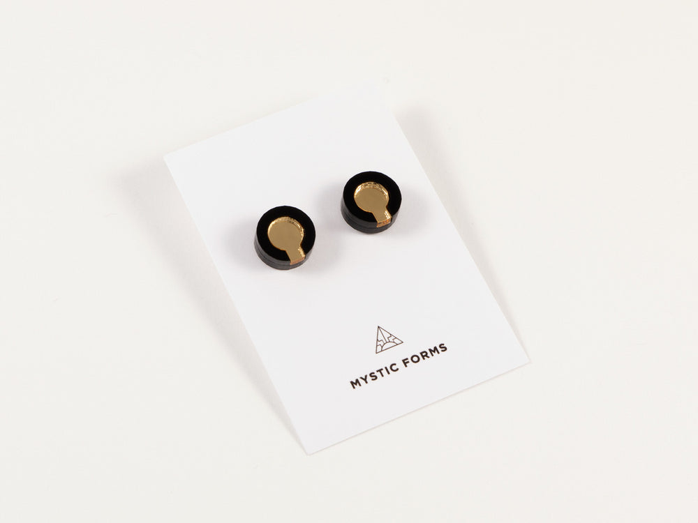 FORM021 Earrings - Gold, Black