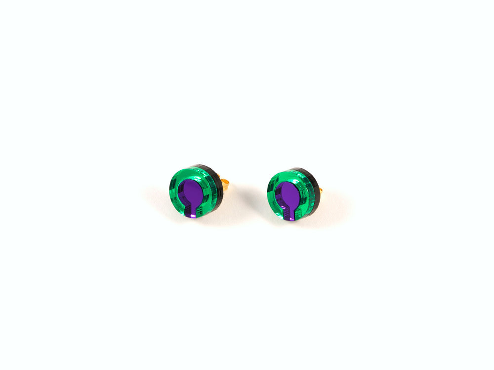 FORM021 Earrings - Green, Purple