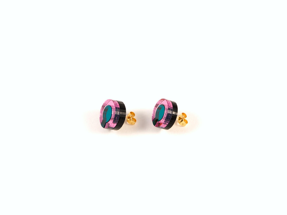 FORM021 Earrings - Teal, Babypink