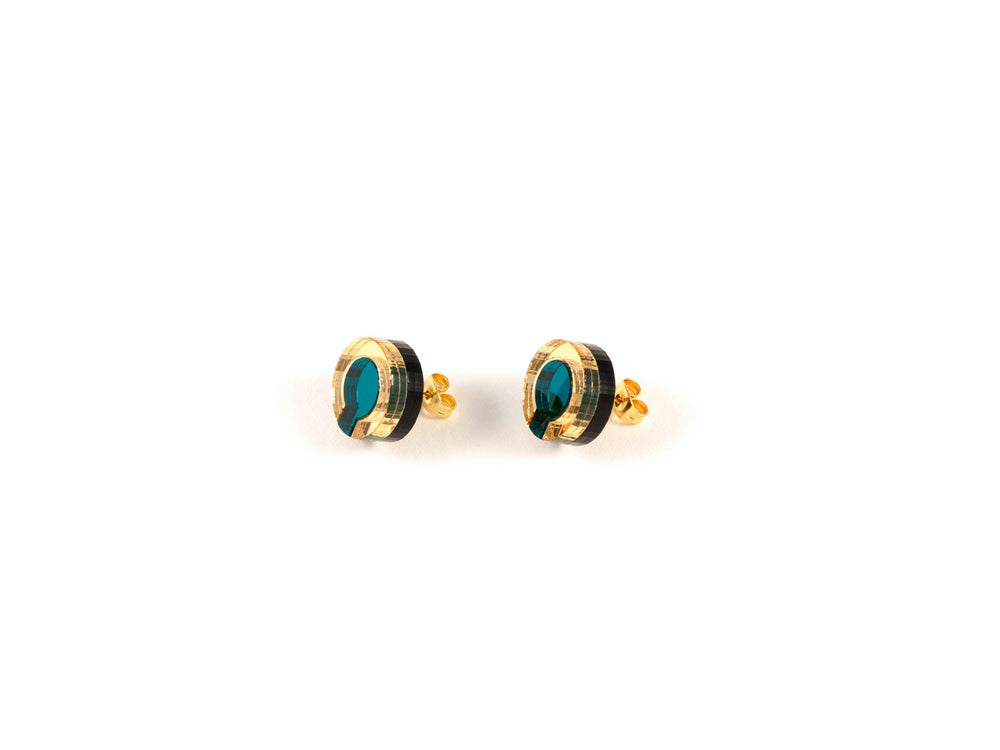 FORM021 Earrings - Teal, Gold
