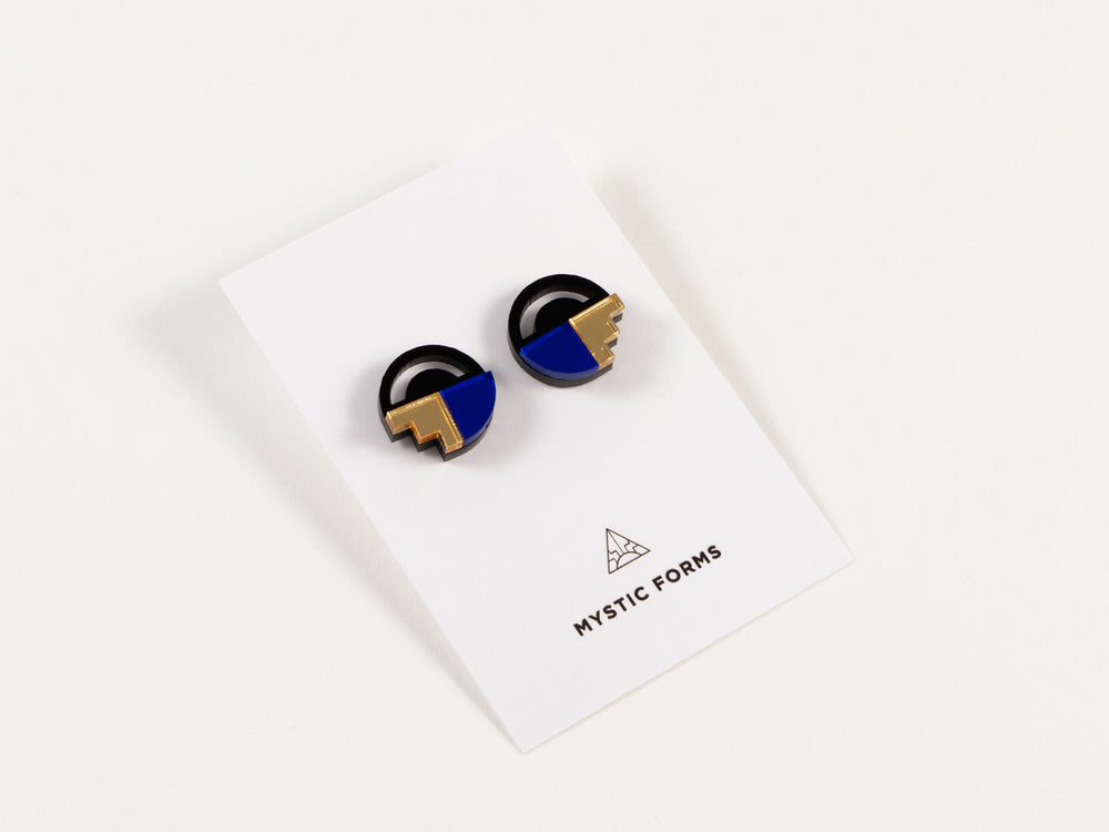 FORM022 Earrings - Blue, Gold