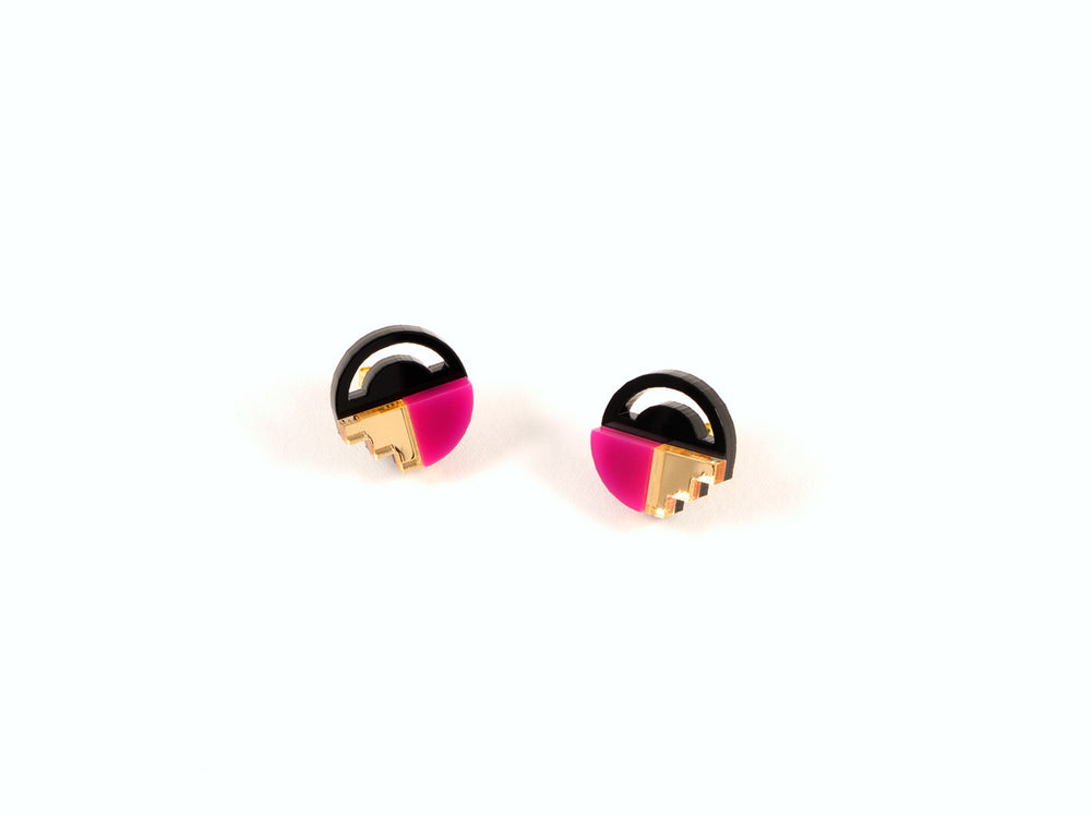 FORM022 Earrings - Pink, Gold