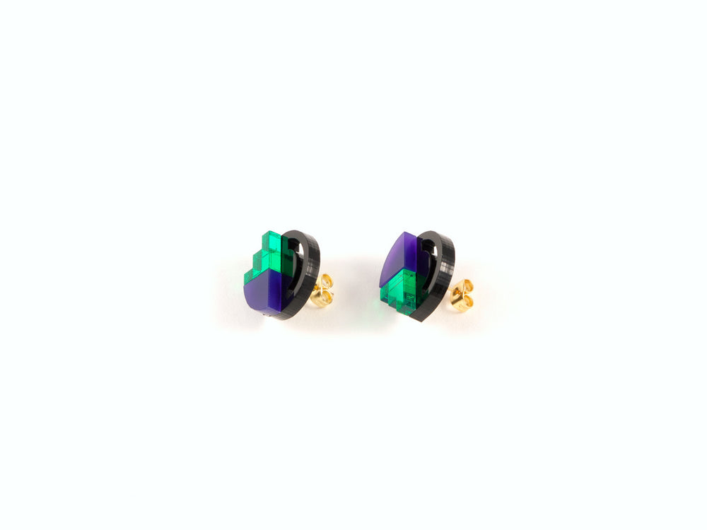 FORM022 Earrings - Green, Purple