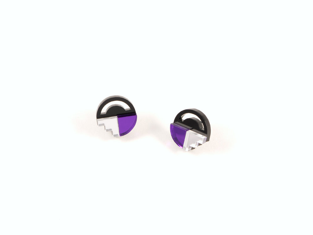 FORM022 Earrings - Silver, Mirror Purple