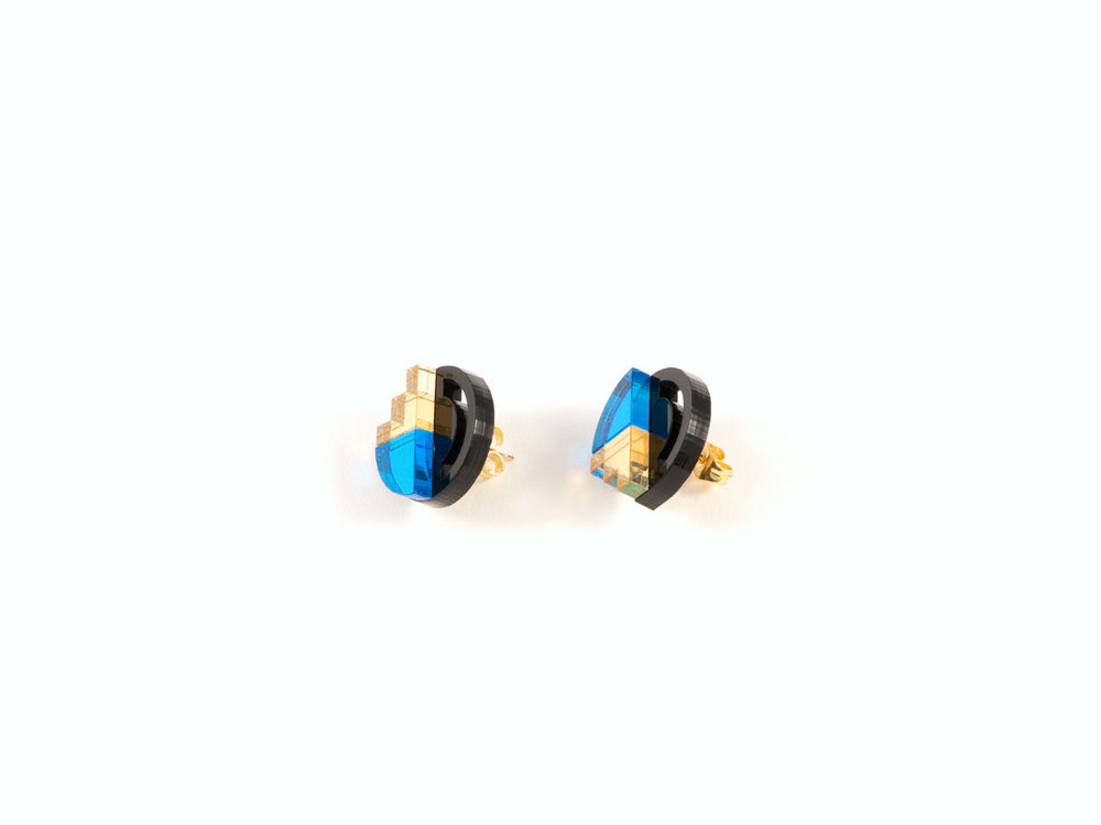 FORM022 Earrings - Skyblue, Gold