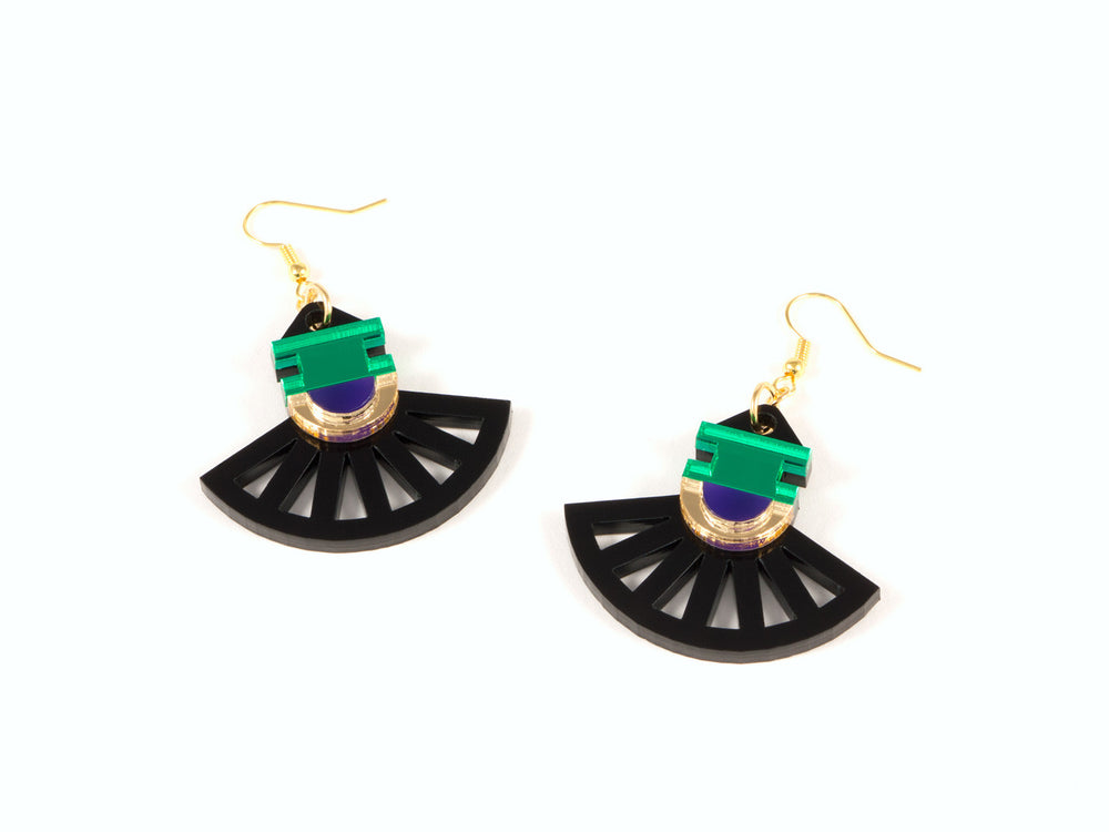 FORM023 Earrings - Gold, Purple, Green