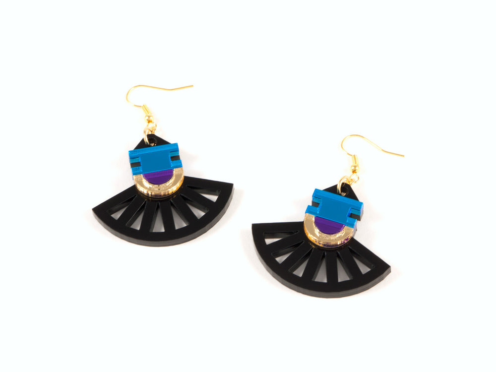 FORM023 Earrings - Gold, Skyblue, Purple