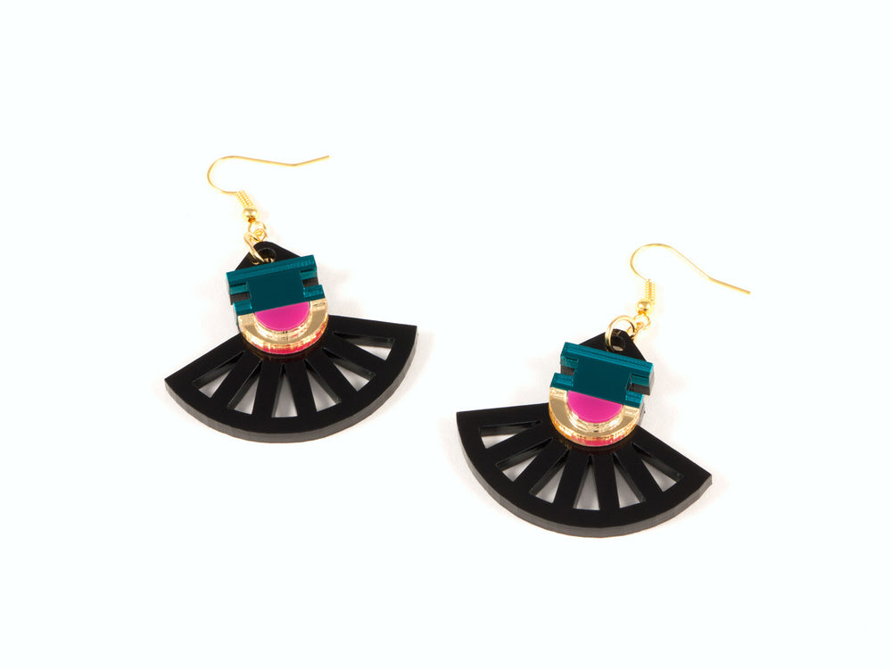 FORM023 Earrings - Gold, Teal, Pink