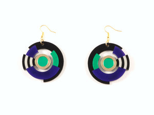FORM024 Earrings - Gold, Purple, Green
