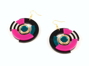 FORM024 Earrings - Gold, Teal, Pink