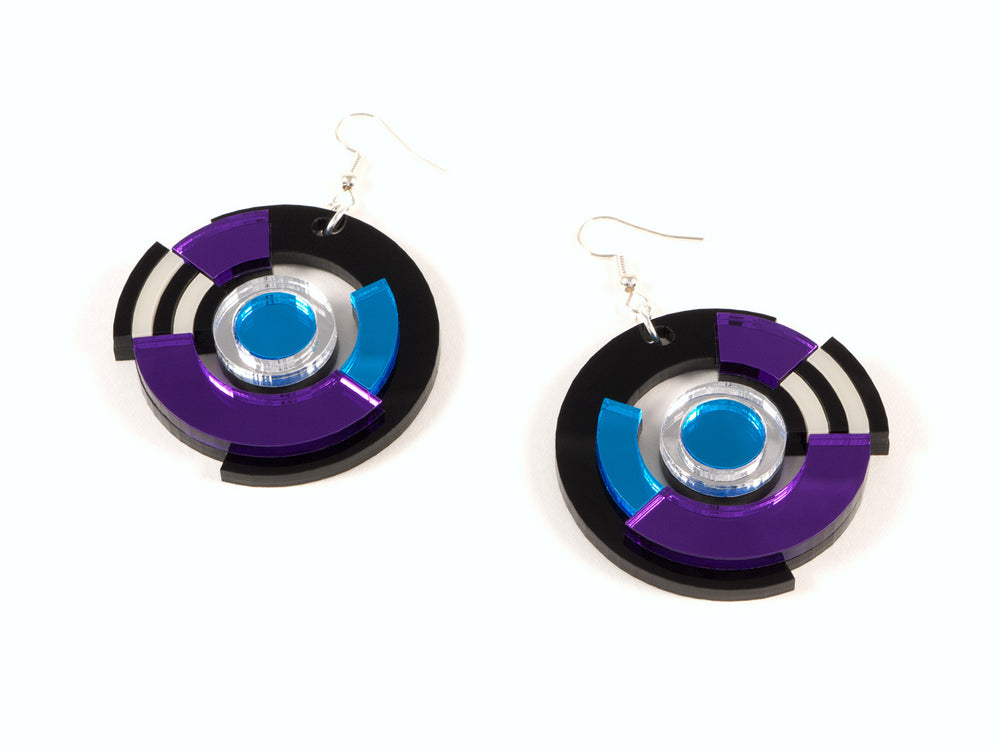 FORM024 Earrings - Silver, Skyblue, Purple