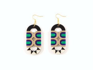 FORM025 Earrings - Gold, Purple, Green