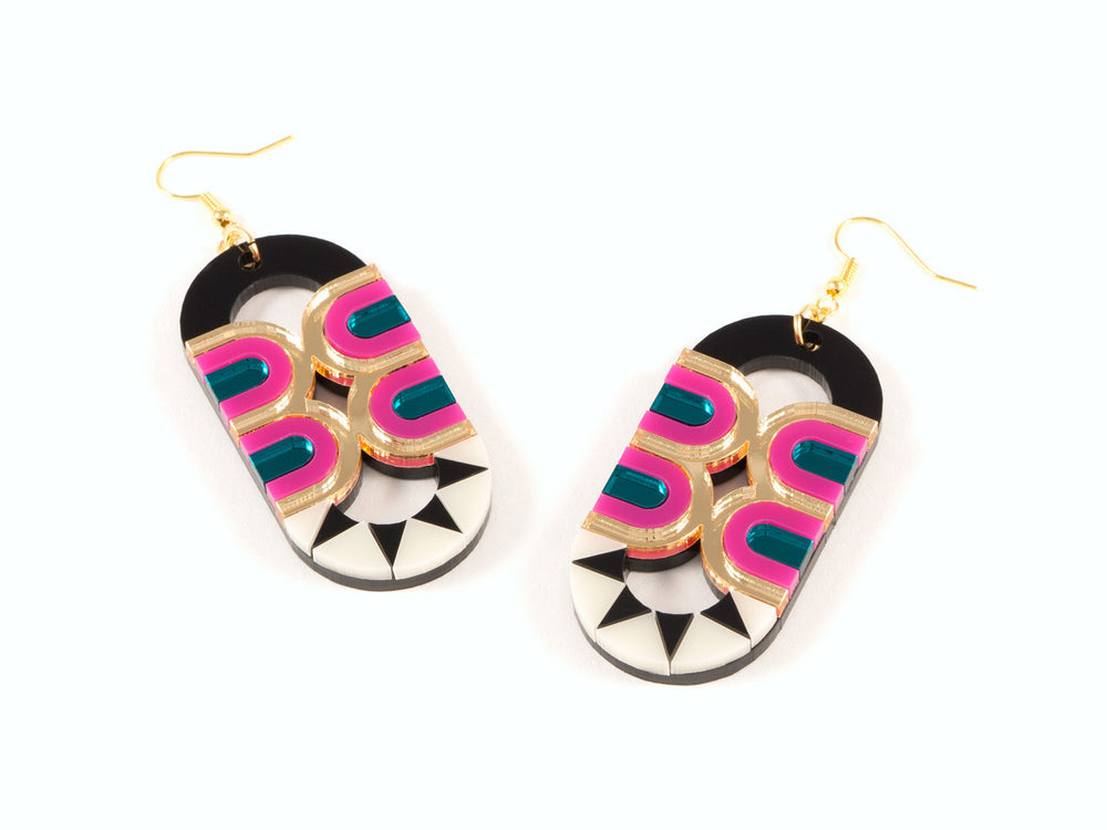 FORM025 Earrings - Gold, Teal, Pink