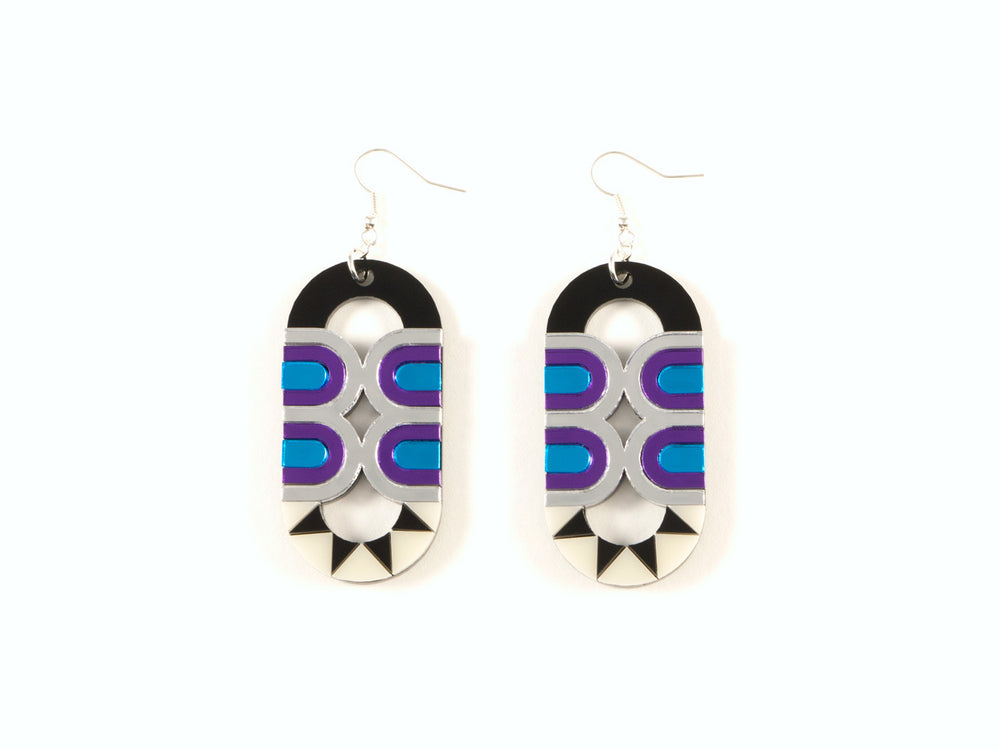 FORM025 Earrings - Silver, Skyblue, Purple