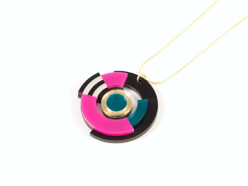 FORM026 Necklace - Gold, Teal, Pink