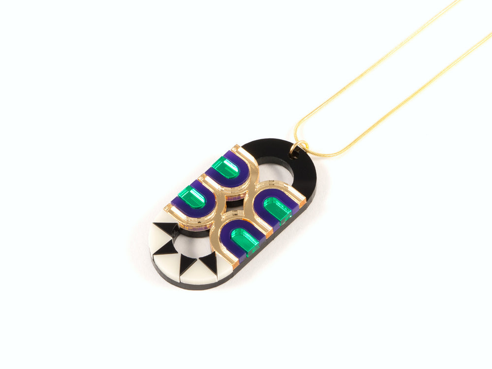 FORM027 Necklace - Gold, Purple, Green