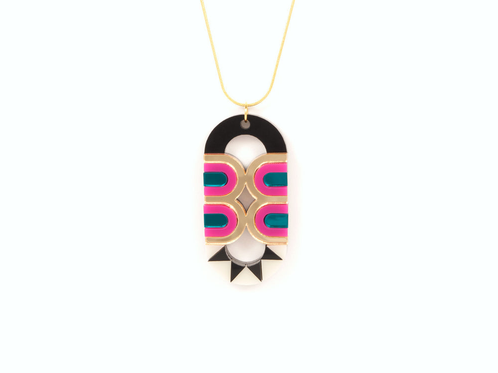 FORM027 Necklace - Gold, Teal, Pink
