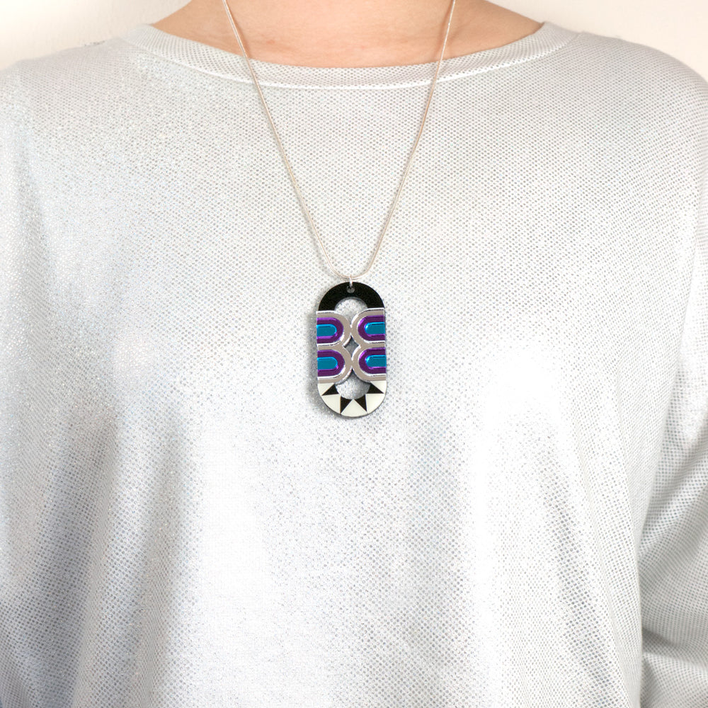 FORM027 Necklace - Silver, Skyblue, Purple