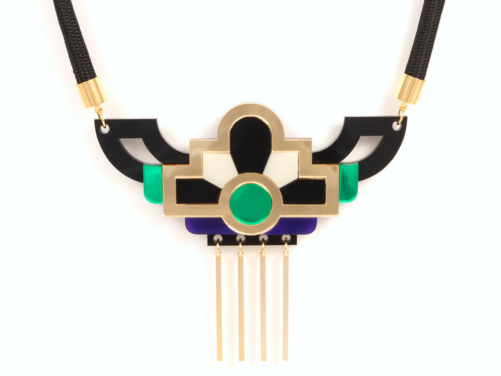 FORM028 Necklace - Gold, Purple, Green
