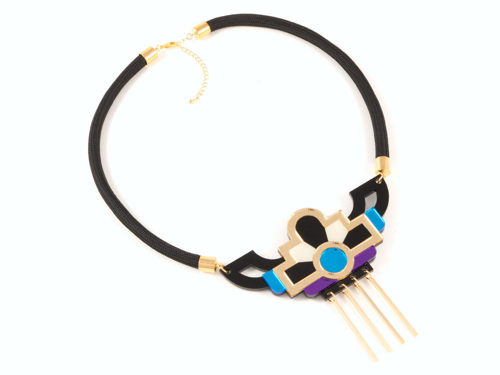 FORM028 Necklace - Gold, Skyblue, Purple